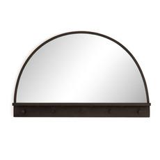 Dark Brass Entry Mirror with Hooks