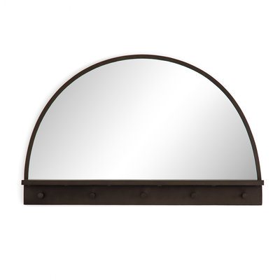 Slate Dark Brass Entry Mirror with Hooks