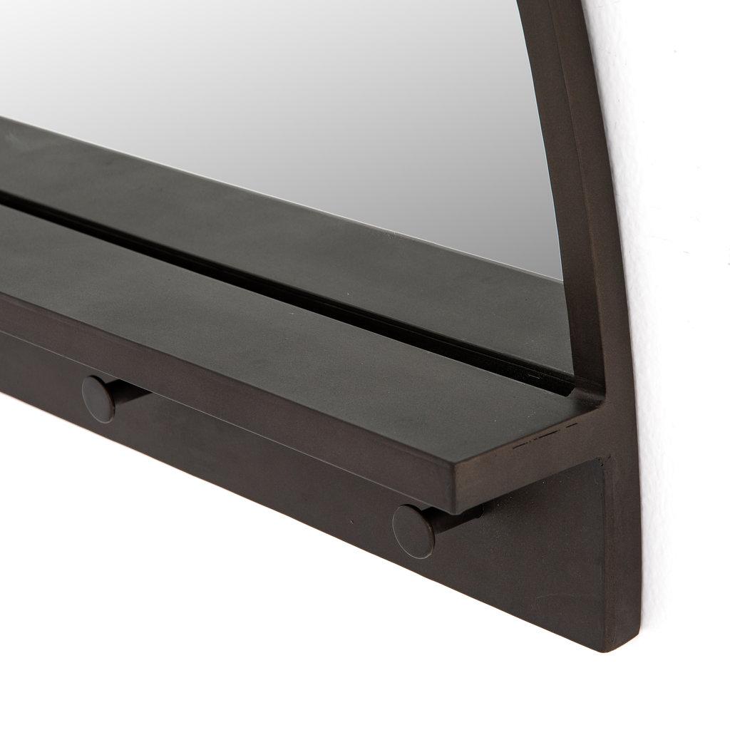 Slate Dark Brass Entry Mirror with Hooks