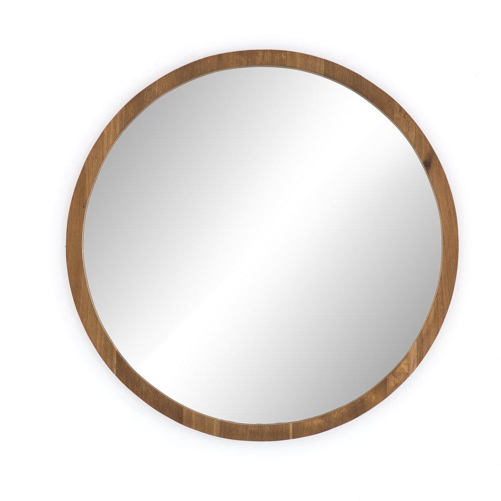 """40"""" Round Smoked Oak Mirror"""