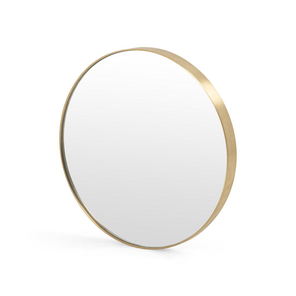 """Slate 24"""" Round Brass Mirror"""