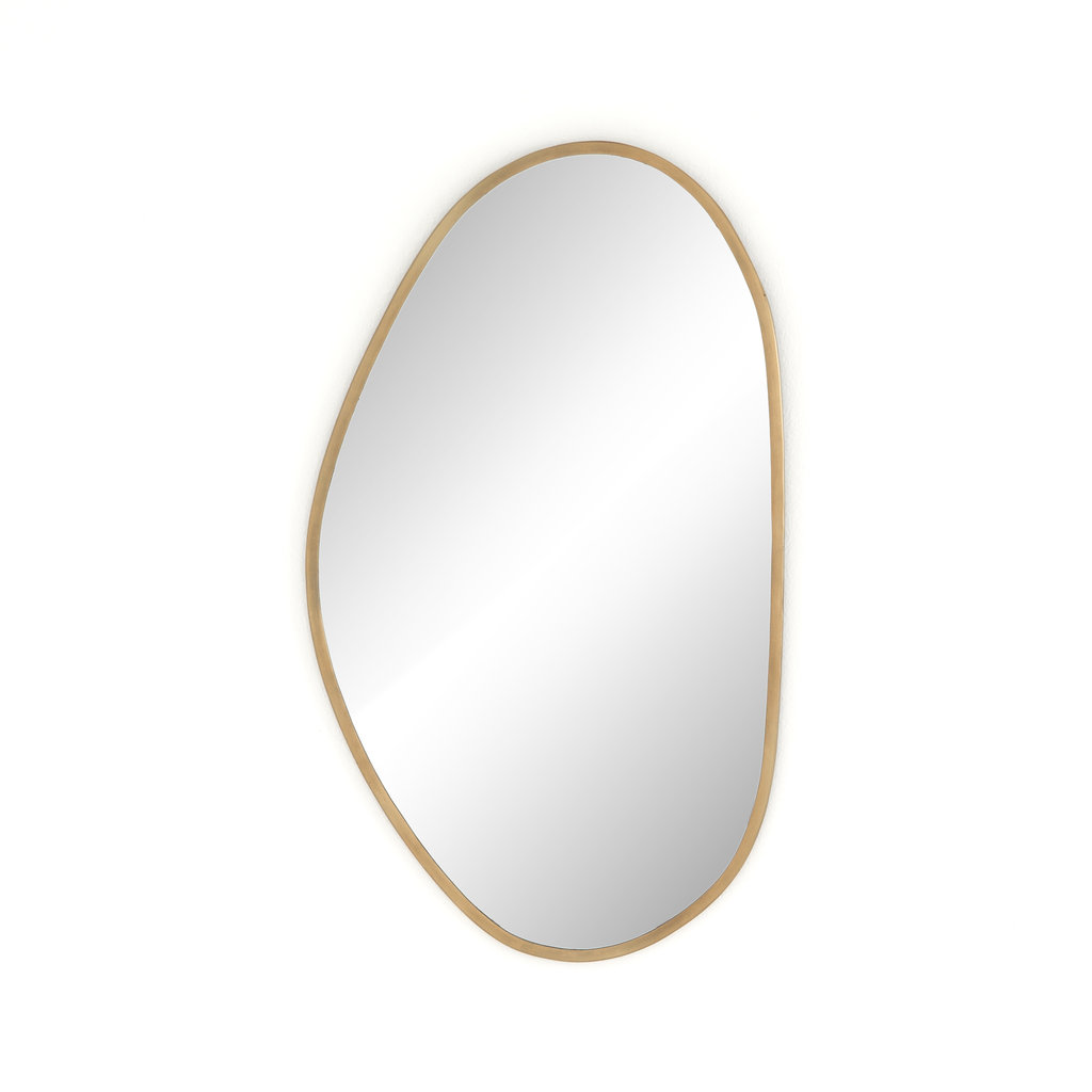 Slate Organic Shape Brass Mirror