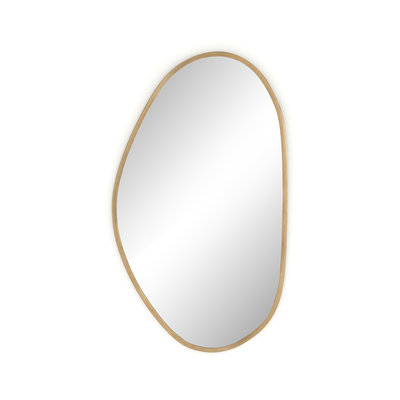 Slate Organic Shape Brass Mirror
