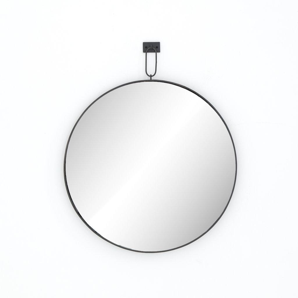 Slate Round Iron Mirror