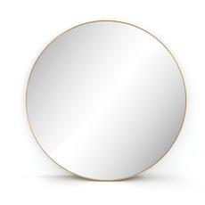Slate Large Round Brass Mirror