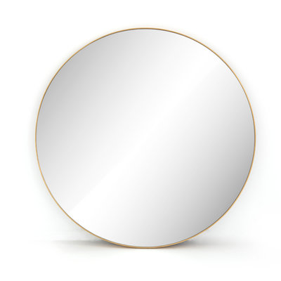 Slate Large Round Brass Mirror