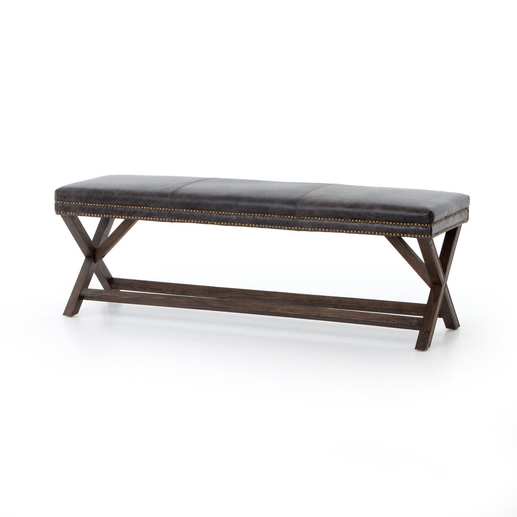 Slate Leather X-base Bench
