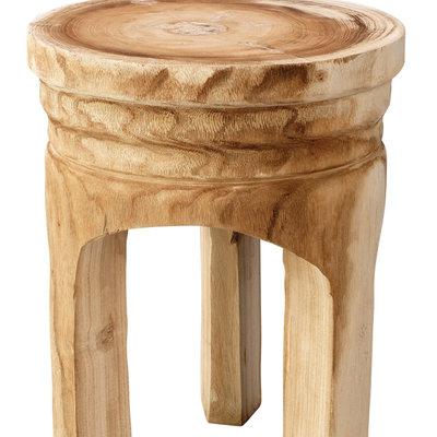 Slate Carved Wooden Side Table
