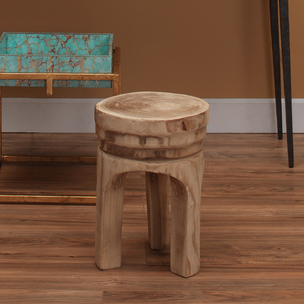 Slate Carved Wooden Side Table