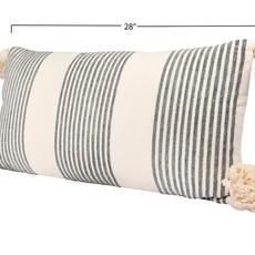 Grey Striped Lumbar Pillow