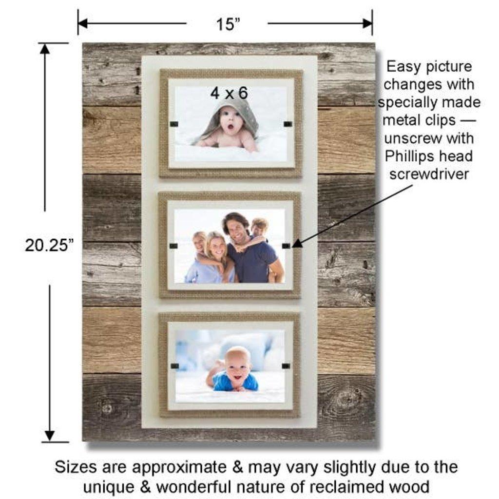 Beach Frames Reclaimed Wood Triple 4x6 Frame