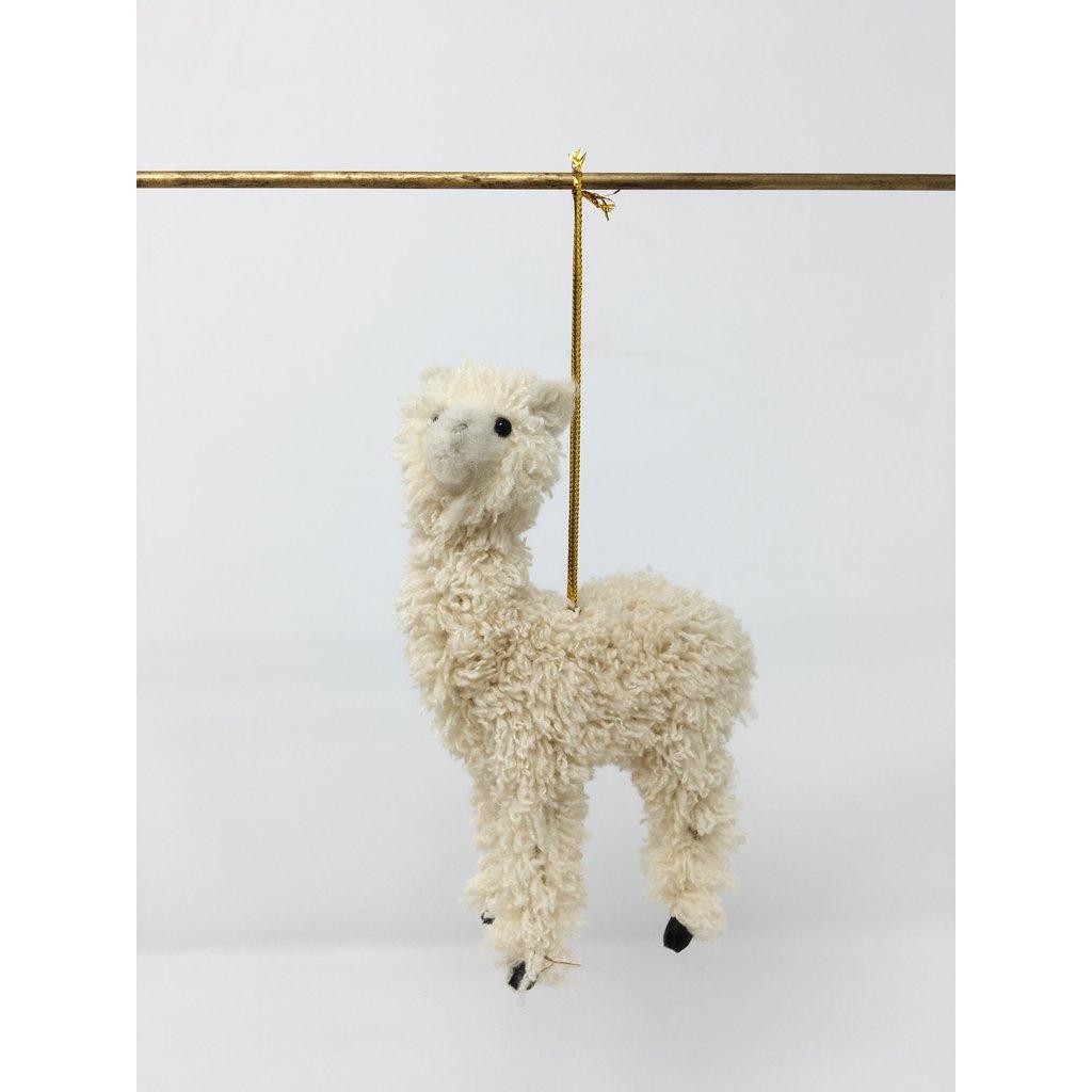 Slate Furry Llama Ornament