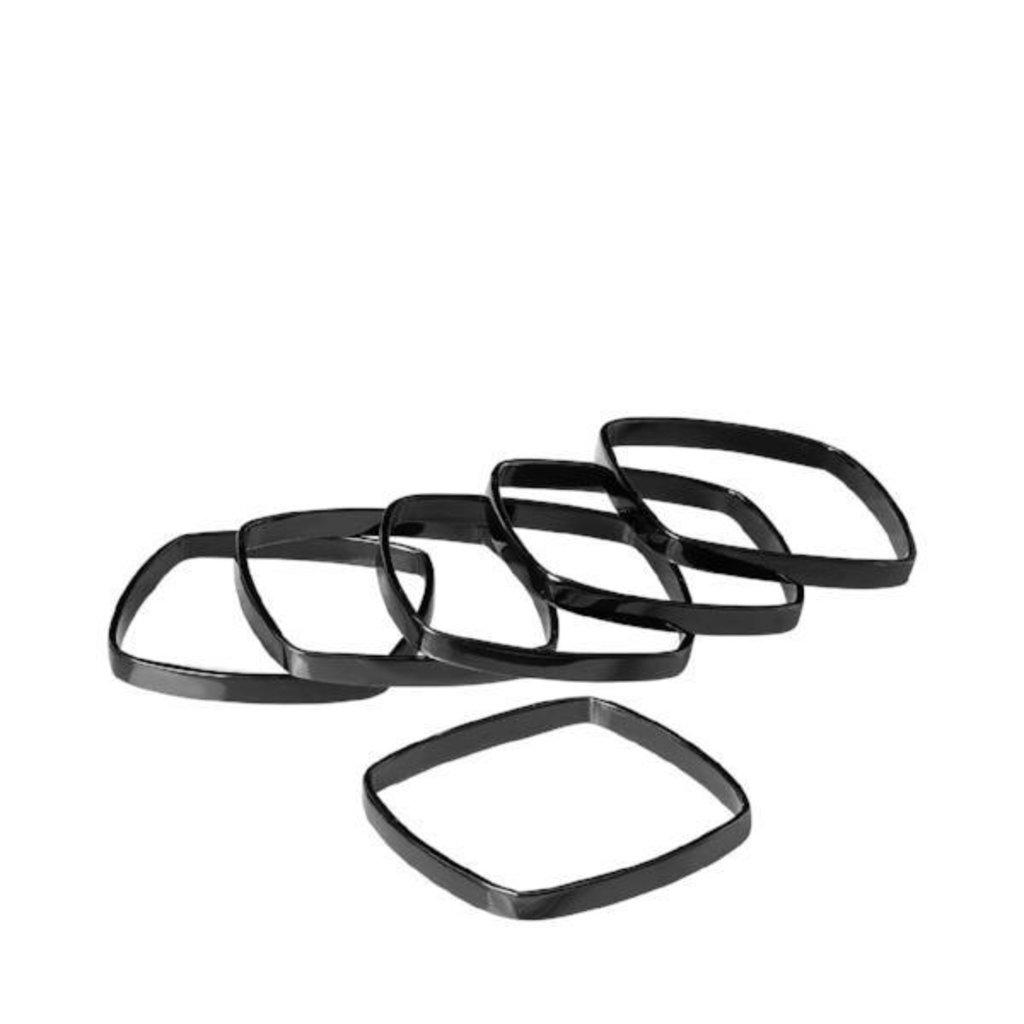 Black Napkin Rings  (Set of 6)