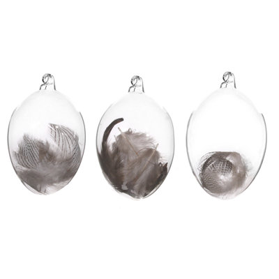Slate Glass Egg/Feather Ornament