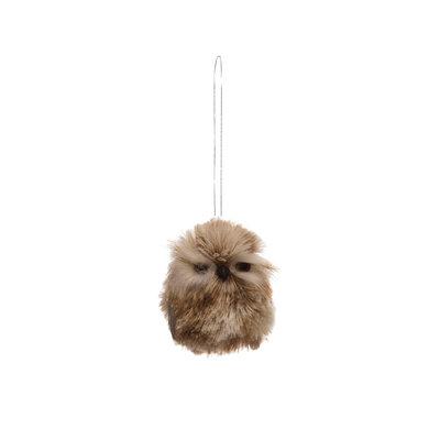 Slate Fluffy Owl Ornament
