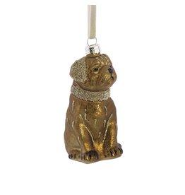 Slate Gold Glass Dog Ornament