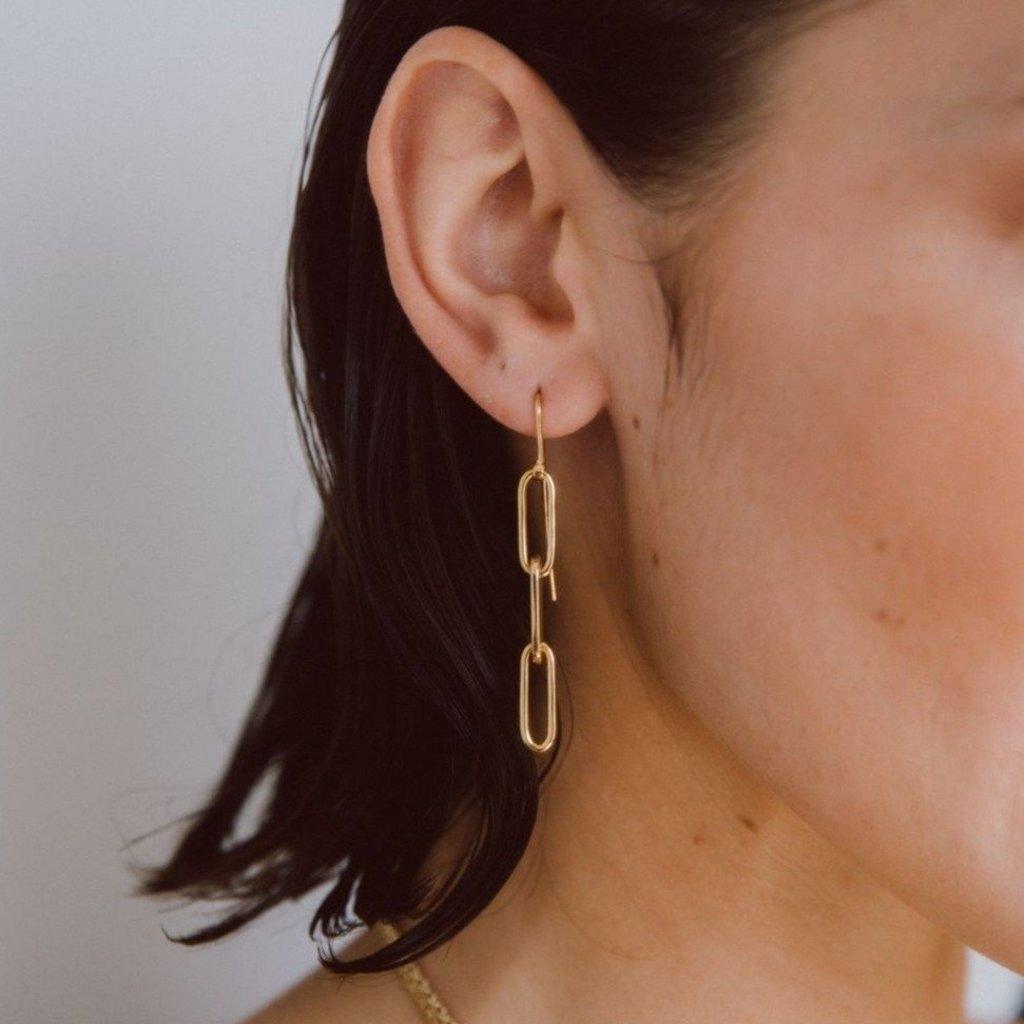 Slate Ellipse Threader Earrings