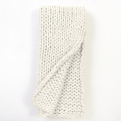 Slate Weighted Cable Knit Throw