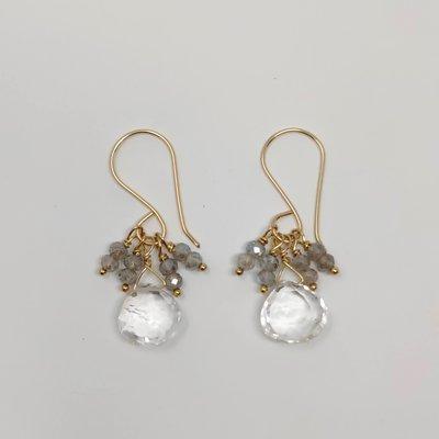 Slate Labradorite + Clear Quartz Earrings