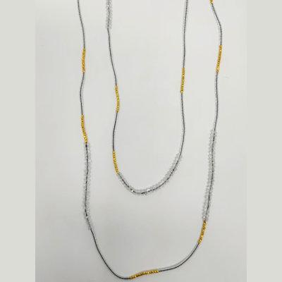 Slate White Topaz + Gold Vermeil Double Necklace