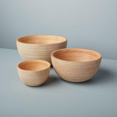 White Striped Mango Wood Bowl