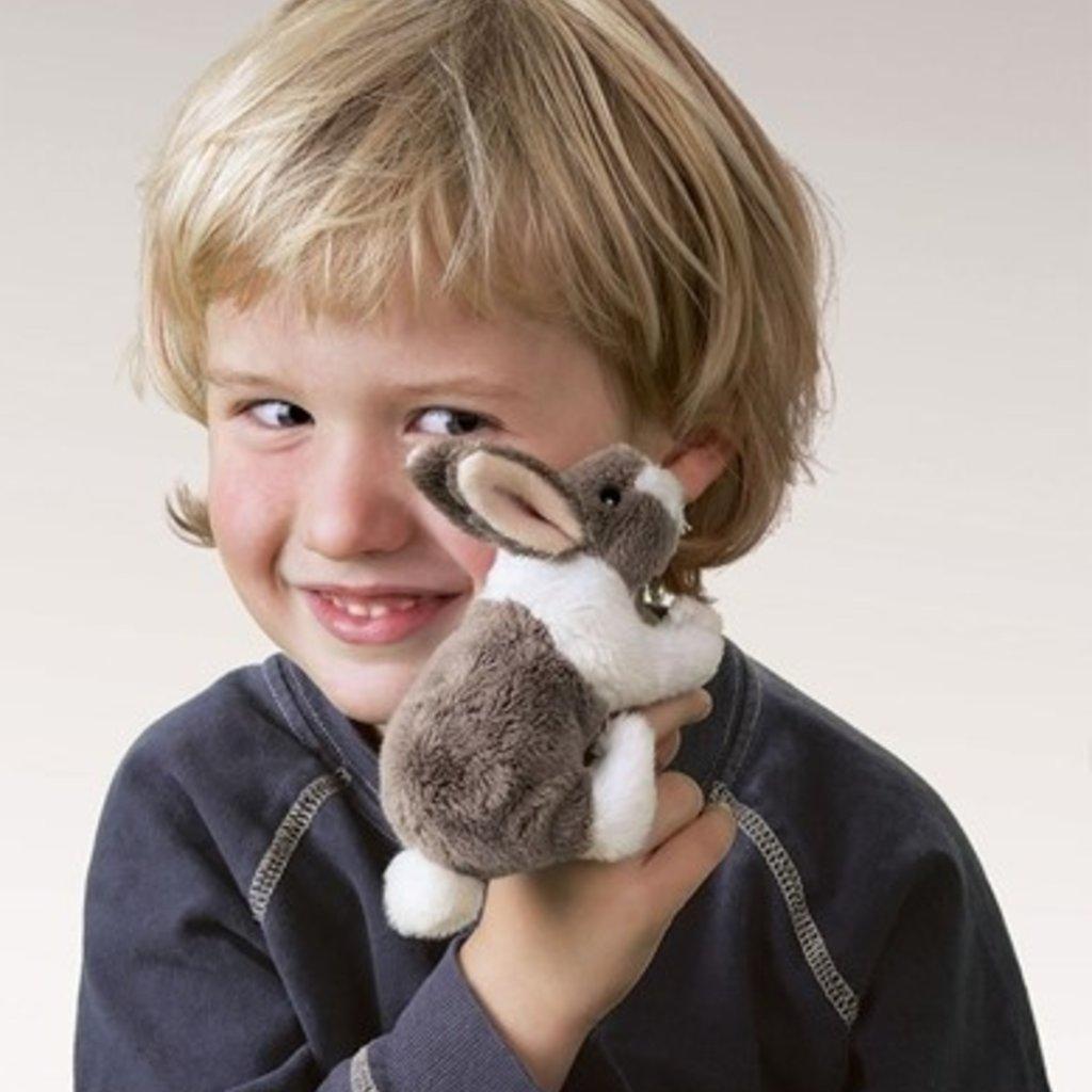 Slate Mini Bunny Rabbit Finger Puppet