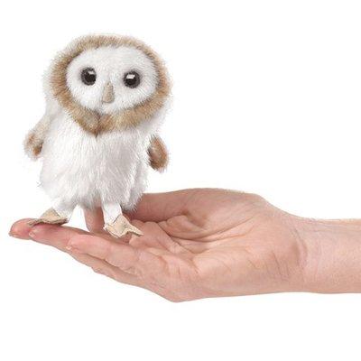 Slate Mini Barn Owl Finger Puppet