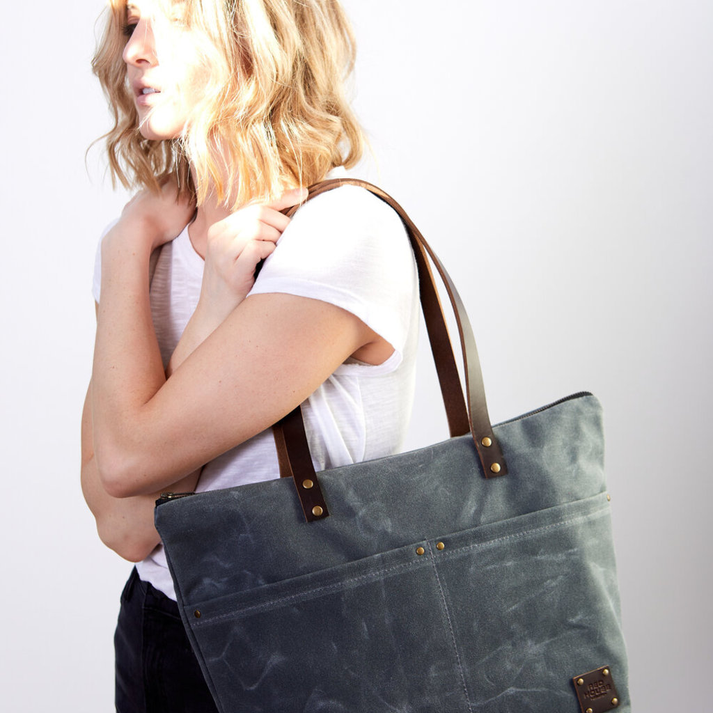 Red House Large Zip Tote - Waxed Canvas