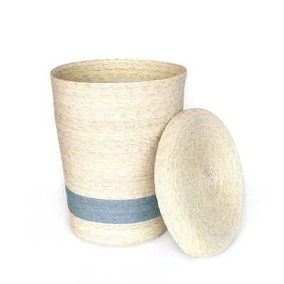 Slate Hand-Woven Hamper with Lid