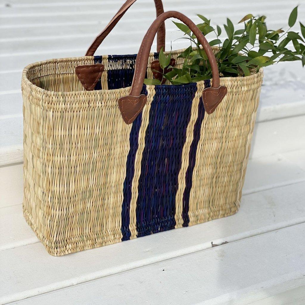 Slate Large Striped Beach Basket