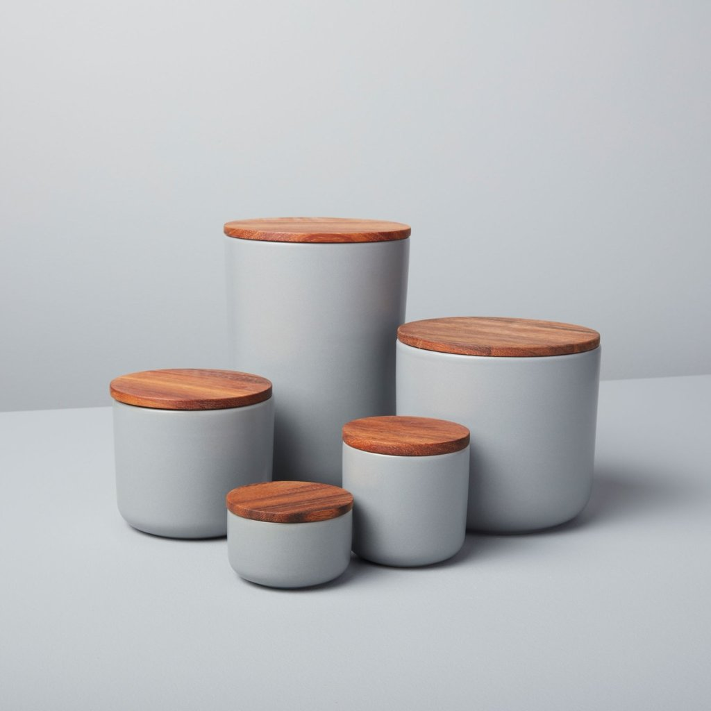 Stoneware Container with Acacia Lid