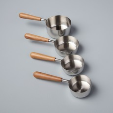 Teak and Stainless Measuring Cups (Set of 4)