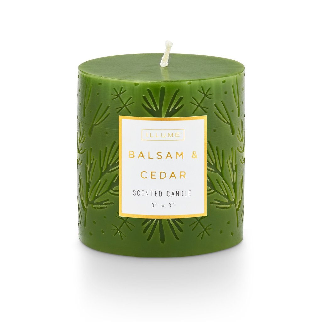 Etched Holiday Pillar Candle