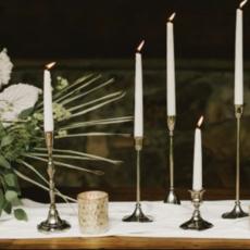 "Antique Metal Candlestick (3.25x9.25"")"