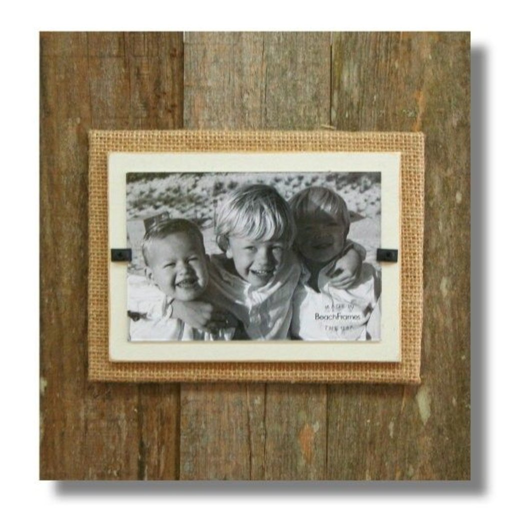 Beach Frames Reclaimed Wood Frame with Burlap and White Backboard-11 x 12