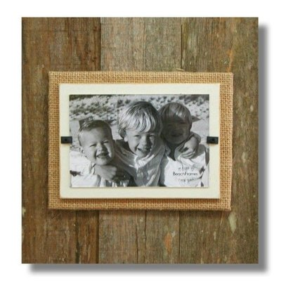 Beach Frames Reclaimed Wood Frame with Burlap and White Backboard