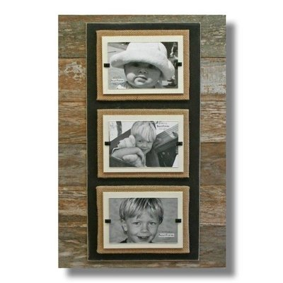 Beach Frames Reclaimed Wood with Burlap and Brown Backboard Triple Frame
