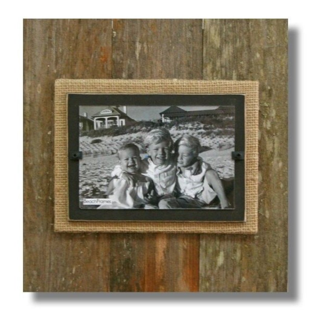 Beach Frames Reclaimed Wood Frame with Burlap and Dark Brown Backboard 11 x 12