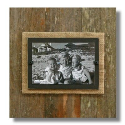 Beach Frames Reclaimed Wood Frame with Burlap and Dark Brown Backboard