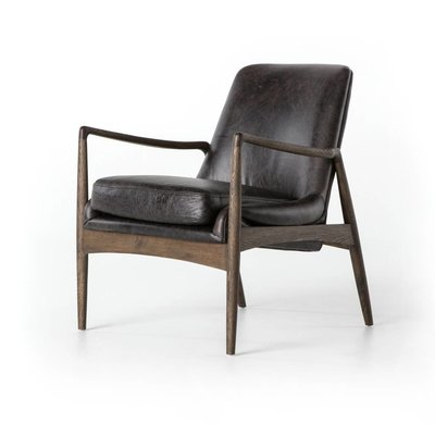 Slate Midcentury Black Leather Chair