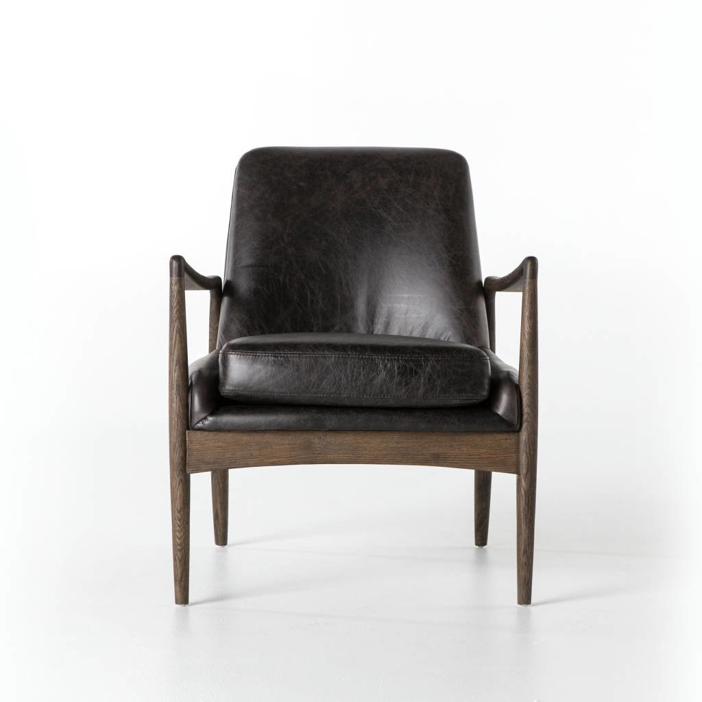 Midcentury Black Leather Chair