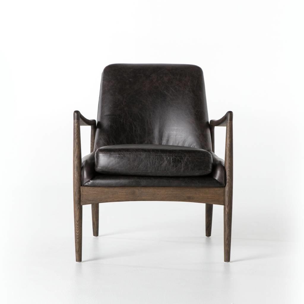 Slate Midcentury Black Leather Chair