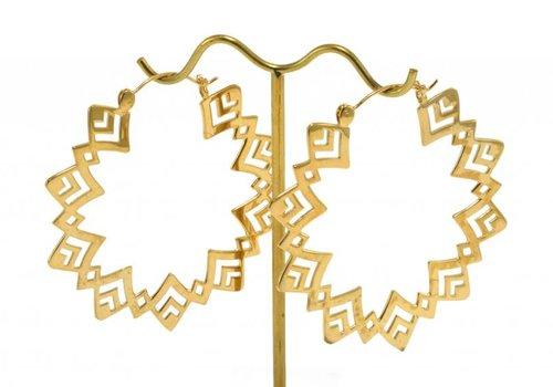 Tawapa Sunflower Hoop in Yellow Gold