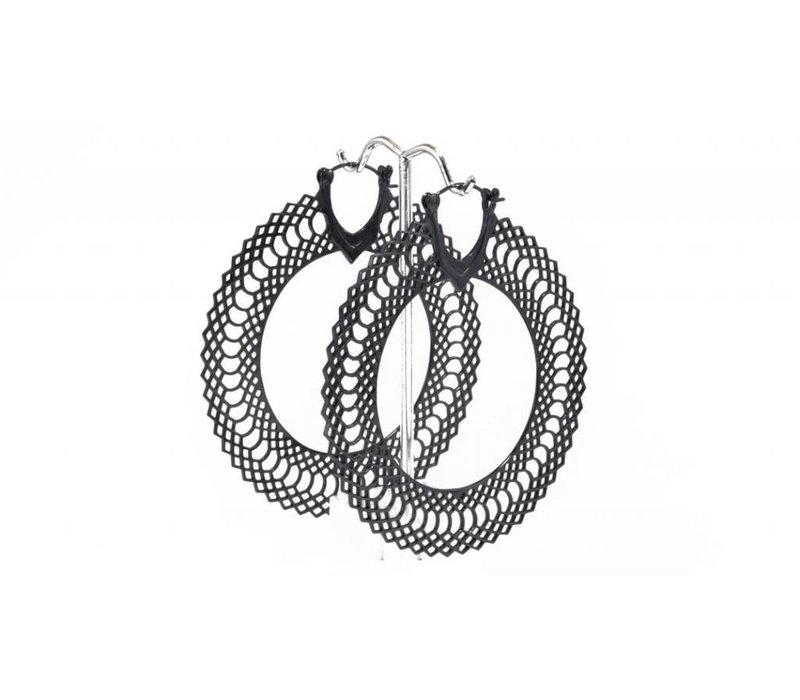 Snakeskin hoop in Gunmetal