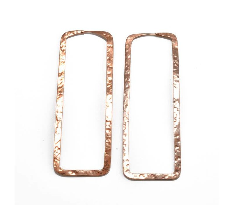 Large Hammered Rectangle in Rose Gold