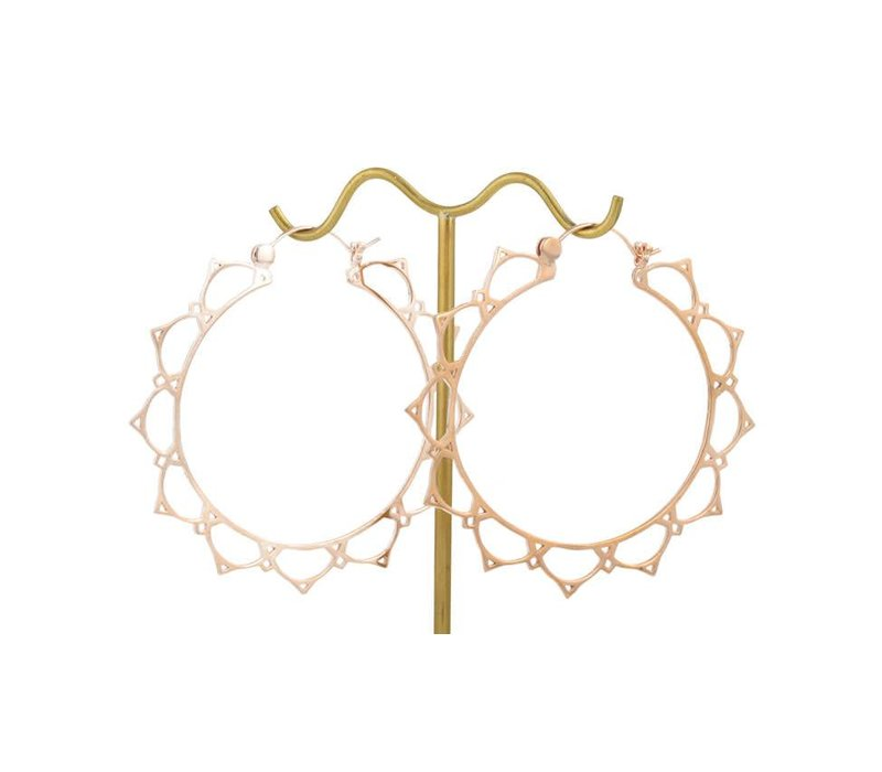 Lace Lotus Hoop in Rose Gold
