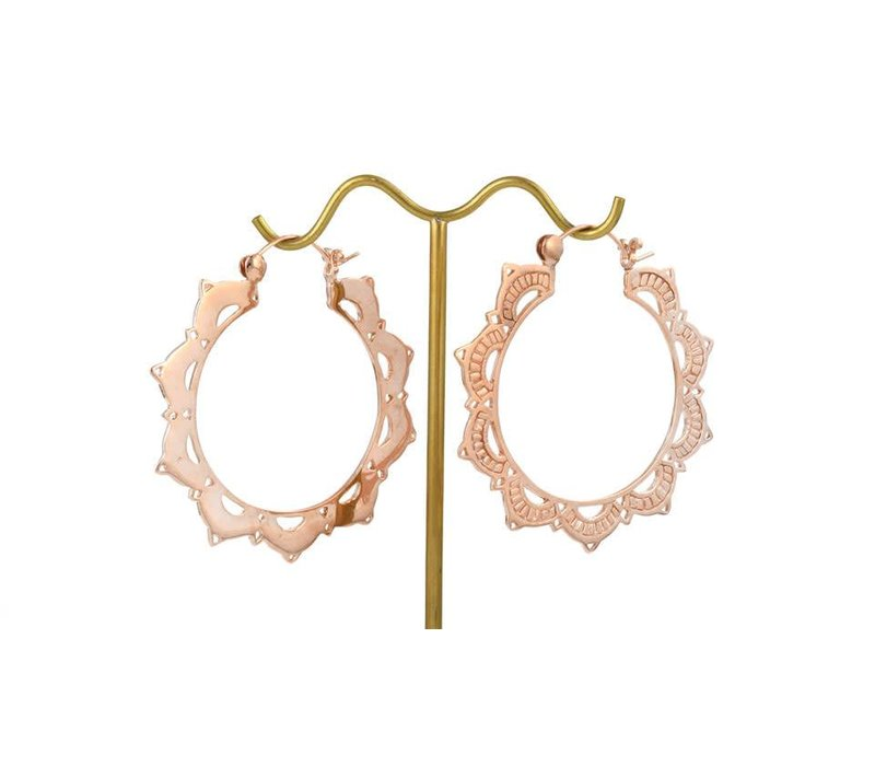 Large Lotus Hoop in Rose Gold