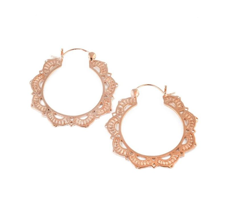 Medium Lotus Hoop in Rose Gold