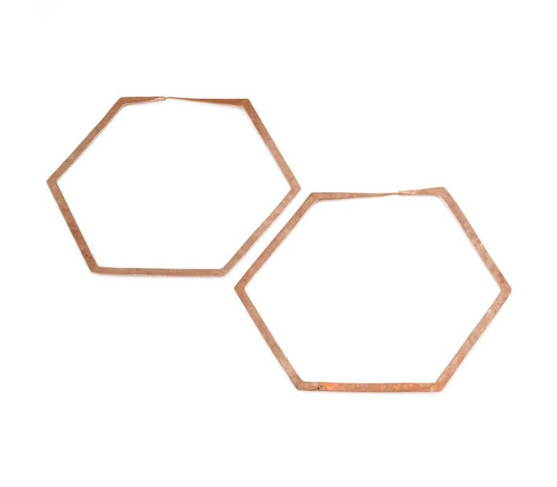 Large Hexagon Hoop in Rose gold