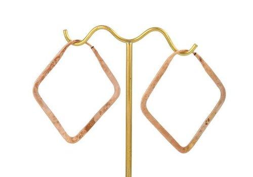 Tawapa Small Square Hoop in Rose Gold